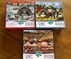 Lot of 3 Charles Wysocki 1000 Piece Jigsaw Puzzles Buffalo Games