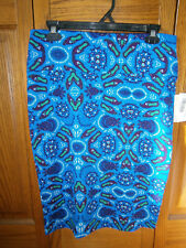 NWT LuLaRoe Cassie Size Medium Stretch Pencil Skirt Blue Green Pointed Slippers