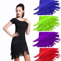 Lady Latin Tango Ballroom Tassel Fringe Skirt Samba Dance Dress Dancewear Modern