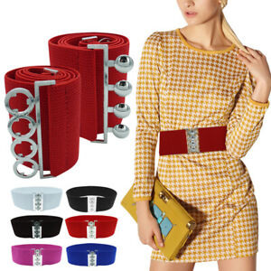 Wide Design Lady Girl Waist Elasticated Silver Hook Buckle Dress Belts Fastening