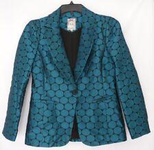 Yoana Baraschi Size 8 Blazer Womens Turquoise & Black Circle Fully Lined Career