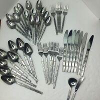 VTG 41 Pc Set Lifetime Cutlery Bamboo Handle Stainless Steel Flatware Japan MCM