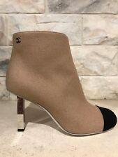 NIB Chanel 16K Beige Black Wool CC High Ruler Heel Short Ankle Boots 37 $1450