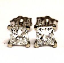 IGI 14k white gold .99ct SI2 E princess scroll diamond stud earrings 1g vintage