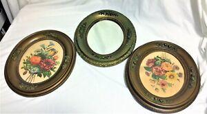 Antique Floral Prints (2) & Mirror in Oval Wood & Plaster Frames    dr92
