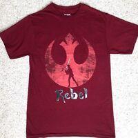 New Adult Size STAR WARS REBEL T-SHIRT Dark Heather Red Alliance Logo Lightsaber