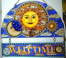 "AMIA STAINED GLASS SUNCATCHER 12"" X 11"" CELESTIAL HARMONY SUN WELCOME  #5273"
