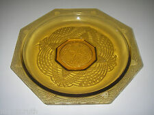 L E Smith Glass ROMANESQUE Amber Shallow Roound Bowl Octagonal Beaded Arch.