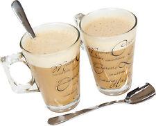Set di 2 bicchieri da latte macchiato Script con cucchiai Irlandese Caffè Cappuccino tazze in vetro Cafe