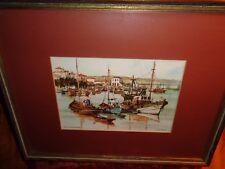"Julio Amaro:: ""Porto Algarve:Portugal"" Framed watercolor; exceptional qualityWOW"