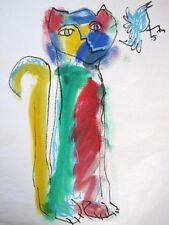 Art Drawing/Painting of Tall Kitty Cat w/Bird Fun Colorful Whimsical Watercolor