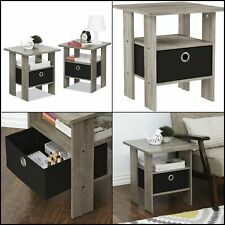 Nightstand Modern Side Table Pair Bedside Bedroom Furniture Drawer Set of 2