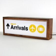 airport 'arrivals' wooden lightbox studio lamp night light home decor