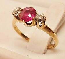 EUROPEAN CUT 14kt VICTORIAN ROSE GOLD OVAL RUBY & DIAMOND COCKTAIL RING Sz 6