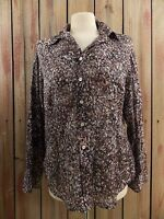 Coldwater Creek Shirt Blouse Sheer Button Down Women's Multi-Color  M (10-12)
