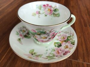 """Antique old vintage tea duo Royal Doulton """"Apple Blossom""""-cup, saucer."""