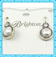 Brighton Silver Pearl Crystal Infinity French Wire Drop Dangle Earrings