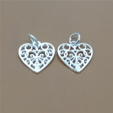 2 Sterling Silver Hollow Spiral Love Heart Charms for Bracelet Necklace