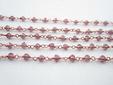50 cm catenina rosario cristalli viola scuro 3,5 mm concatenata  color rosè