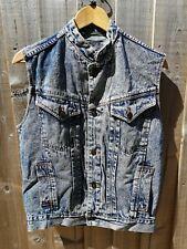 Raffle men's Vintage Sleeveless Denim Jacket  Blue Size Small rounded Collar