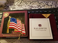 BALDWIN CHRISTMAS ORNAMENTS 1776 American Flag Brass & Finished In 24kt Gold !