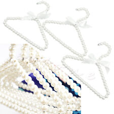 3pcs Plastic Bow Pearl Beaded Clothes Dress Coat Hangers Weding For Kid Children