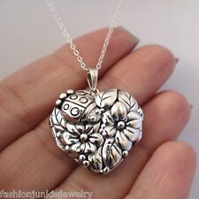 Ladybug Flower Locket Necklace - 925 Sterling Silver - Heart Photo Keepsake NEW