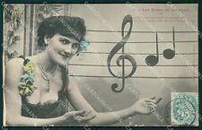 Musica Spartito Note Lady PIEGHINA postcard cartolina QT5411
