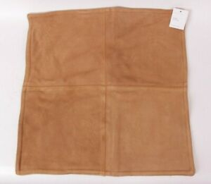 """Pottery Barn Pieced Suede 20"""" pillow cover, camel brown"""