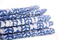 2.5 Yard Indian Printed Hand Block Print Pure Cotton Fabric Indigo BLUE Throw