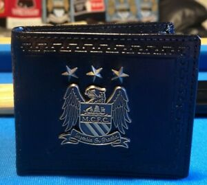 Manchester City FC Official Football Gift Boxed Leather Wallet Retro Metal Crest