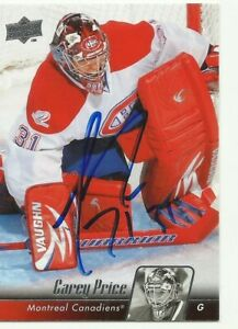 CAREY PRICE AUTOGRAPHED MONTREAL CANADIENS CARD