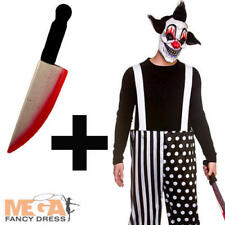 Sinister Clown + Blooded Knife Mens Fancy Dress Circus Adults Halloween Costume