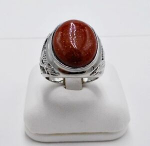 MEN RING RED BROWN SANDSTONE OVAL STONE SYN STAINLESS STEEL SILVER BIRD SIZE 9.5