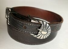 Chacon Leather Belt 30 Sterling Silver Buckle Made in Colorado Signed RMPM  '94