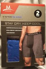 Mission Vapor Active 2 Performance Boxer Briefs M Gray & Blue Quick Dry FREE S&H