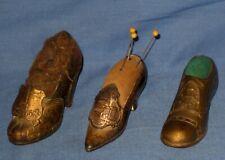 VTG/Antique Lot 3 Metal Advertising Victorian High Heel Pin Cushion/Men's Oxford