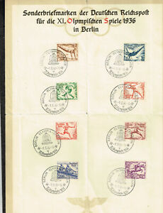 Germany Olympic Games Souvenir 8 stamps with rare Postmarks 1936 CV$100