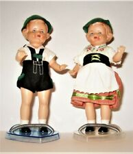 Vintage German Boy and Girl Dolls dressed in Traditional Clothes, Stands include