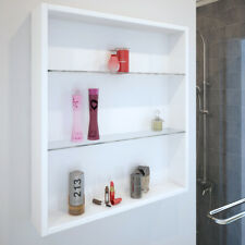 Bathroom Cloakroom 600mm Patello Wall Open Storage Unit White with Glass Shelves