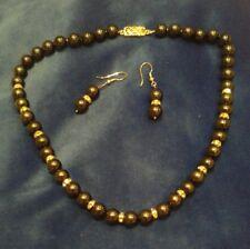 Black Gold Bead Necklace & Earrings Set