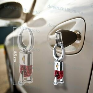 For Chevy Chevrolet Emblem Key Chain Ring BV Style Leather Gift Decoration Red