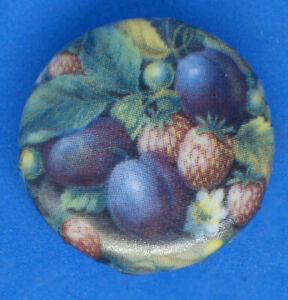 Birchcroft  China Button -  Fruit Painting of Plums - One Inch Size ( 25 mm )