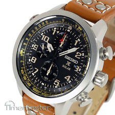 New SEIKO SOLAR PILOT CHRONOGRAPH LIGHT BROWN CALF LEATHER STRAP SSC421P1