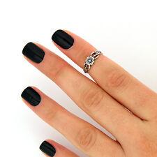 sterling silver knuckle ring flower design above knuckle ring adjustable ringT15