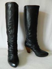 ASH bottes femme CUIR plissé noir doublé cuir talons bois 36 TBE val 199 euros