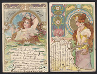 2-Art Nouveau-Woman-Lady-Long Hair-Water Lily-Jewelry-Antique Postcard Lot