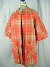 Aspen Sportwear Vtg 60s Orange Beige Plaids Light Weight Wool Mod Coat-Bust 47/L