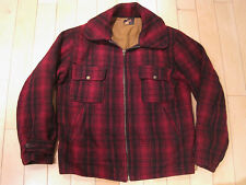 ULTRA RARE!! vtg 1950s WOOLRICH red HUNTING COAT jacket PLAID 50s medium