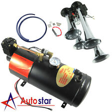 12V 150PSI 3 Liter Air Compressor With 4 Trumpet Air Horn Train Truck On Board